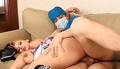Brunette nurse sucking dick on top of a bate razor