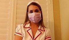 Nurse in latex titty