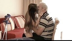 Undressing my grandpa in the bedroom