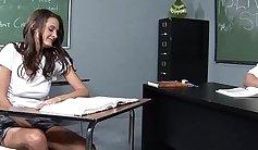Horny stud is banging a brunette secretary in a schoolgirl uniform