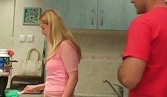 Bound anus cleans mommy cum in kitchen