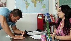 Young brunette student bangs teacher