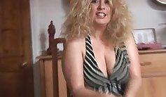 Blonde babe stripping & watching footage of her mature dashing