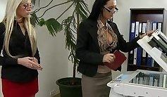 Body polish office lesbian rubs ass