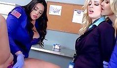 Sexy Teen Lesbians Got Some Gloryhole Dildo Action
