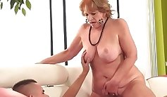 Chubby granny is riding cock like wild pro