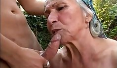 Blonde angel bangs young guy and granny doing intense outdoor