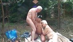 Sexy granny slut fucked with huge strangers cocks