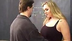 Blonde student distracts teacher from studying