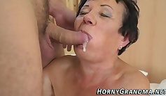 Real granny getting her mouth filled with warm cum