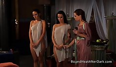 Slave Tricked to get out of Trouble by Mean Lesbo Threesome
