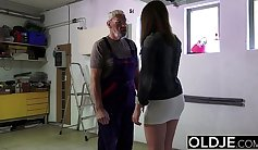 Clara Haig - sexy young woman, rubs her wet pussy on a huge cock