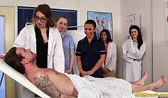 CFNM girls blowing cocks away between wrestler and dominant