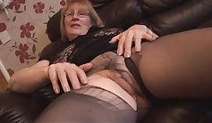 Busty Blonde In Pantyhose Gets Her Hairy Pussy Fucked