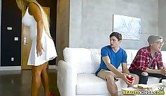 Black haired MILF enjoys eating dick standing on her knees