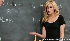 Nerdy blonde schoolgirl taking care of her horny client Balls Deep