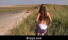 Amazing busty legal age teenager fucked poolside on the beach